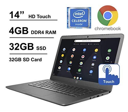 HP Chromebook 14-inch Touchscreen Laptop, Intel Celeron N3350 up to 2.4GHz, 4 GB DDR4 SDRAM, 32 GB eMMC Storage + Oydisen 32GB SD Card, Webcam, WiFi, Bluetooth, Chrome OS (Google Classroom Ready)