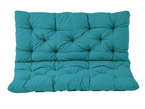Cojines para asientos Meerweh y cojines para respaldo Banco Hanko, turquesa, aproximadamente 100 x 98 x 8 cm, tablero de trabajo, revestimiento acolchado