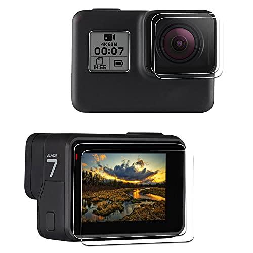 LARRITS - Protector de pantalla para GoPro Hero 7 6 5 Black, 2 unidades de cristal blindado protector de pantalla + 2 unidades de cristal protector de pantalla + 4 unidades de protector de pantalla