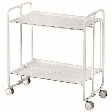 Carrito camarera armazón blanco, 2 bandejas blancas. Cuatro posiciones fáciles de cambiar: cerrado, abierto, semi-plegado, bandeja inferior semi-plegada.