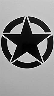 Chase Grace Studio Jeep Star Army Star Military Vinyl Decal Sticker|Black|Cars Trucks Jeeps Vans SUV Laptops Wall Art|5.5