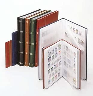 LINDNER Stamp Stockbook- Tan Cover- 60 Black Pages- Clear Strips- Double Glassine Interleaving