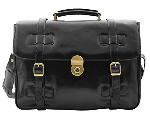Mens Leather Briefcase Black Vintage Classic Office Bag Messenger Laptop Case - Matteo