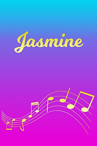 Jasmine: Sheet Music Note Manuscript Notebook Paper – Pink Blue Gold Personalized Letter J Initial Custom First Name Cover – Musician Composer … Notepad Notation Guide – Compose Write Songs