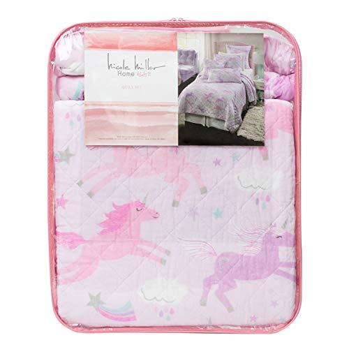NM Kids Nicole Miller 2 Piece Twin Single Bed Magical Pastel Unicorns Cotton Quilt Set Unicorns Clouds Stars Purple Pink Mint White