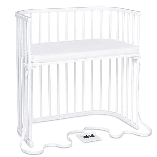 Cododo babybay Boxspring en hêtre massif avec matelas Classic Soft I hauteur du lit réglable en continu et respectueux de l'environnement I le lit de bébé grandit avec votre enfant, laqué blanc