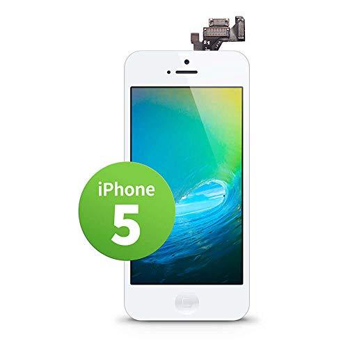 GIGA Fixxoo Schermo singolo di Ricambio per iPhone 5 Apple, Display LCD Retina ad Alta Risoluzione, Touch Screen in Vetro con Fotocamera, Altoparlante & Sensore Prossimità; Guida Video Online - Bianco