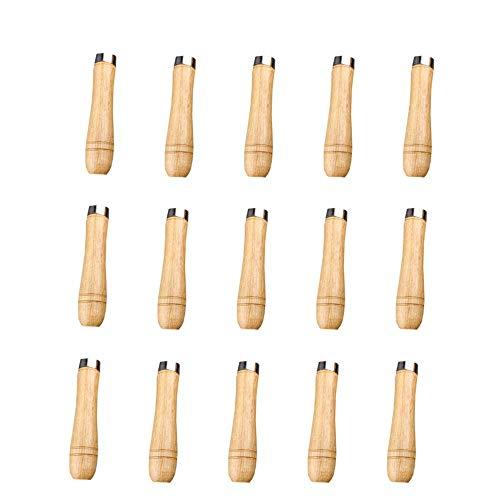 15 StüCk Feilenheft,Holz-Handfeilen,Hartholzfeile Mit Schaft,Feilengriff Holz Mit Starken MetallhalsbäNder Feilengriffe für Feilen und Raspeln,LäNge 90 mm,Geeignet für 4-6 Zoll Dateien Aller Formen