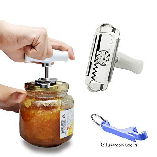 Lifreer - Abridor de tarros de artritis ajustable de acero inoxidable en espiral para abrir botellas