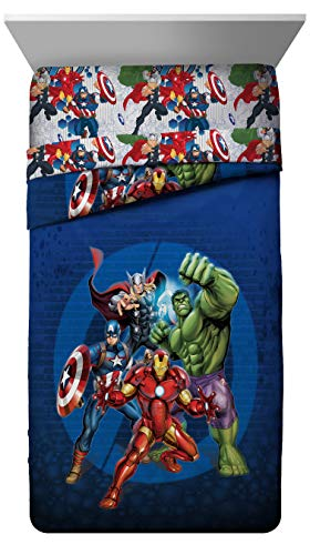 Marvel Avengers Blue Circle Twin/Full Comforter - Super Soft Kids Reversible Bedding features Iron Man, Hulk, Captain America, and Thor - Fade Resistant Polyester Fill (Official Marvel Product)