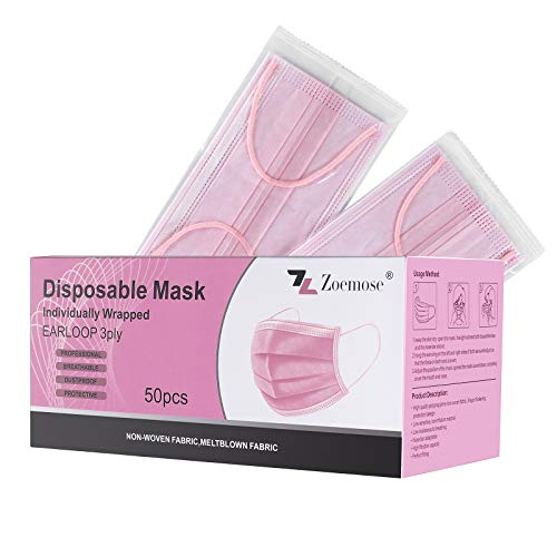 Disposable Face Masks 3-Ply Individually Wrapped for Home, School, Office and Outdoors (50 PCS,Pink)