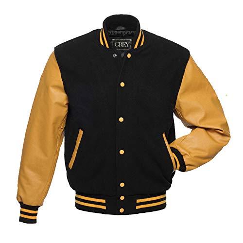 Varsity jacket | Baseball jacket Men | Leterman jacket Men | Men's Leather Jacket | Bomber jacket (Black, XS) (xs, jet black) (BLACK-YELLOW GOLD, xl)