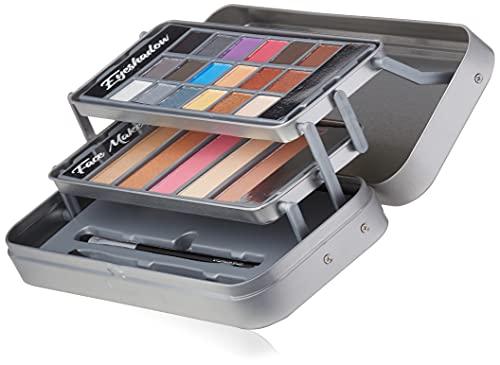 Markwins Lata de Maquillaje New Hello Beautiful - The Color Workshop - Un Kit de Maquillaje Profesional Completo en una Caja de Lata Metalizada y Fashion con 3 Pisos para Llevar Siempre Contigo