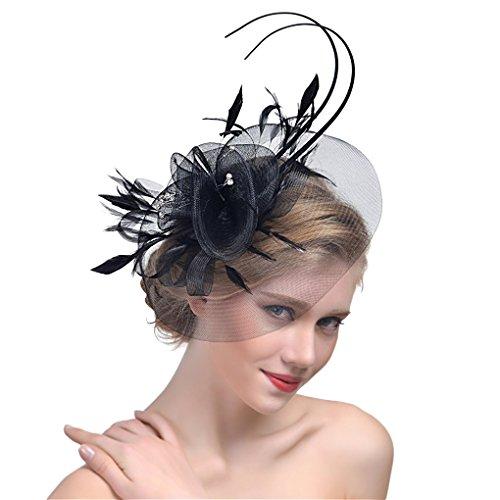 Damen Fascinator Blumen Netz Braut Kopfschmuck Haar Clip Hut Feder Haarschmuck Kopfbedeckung für Party Kirche Hochzeit Cocktail Jockey Club