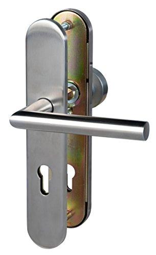 Alpertec 28820030B Schutzbeschlag Moskau -LS Edelstahlsatiniert Knopf/Drücker PZ für Haustüren 92 mm Drückergarnitur Türdrücker Türbeschläge Neu