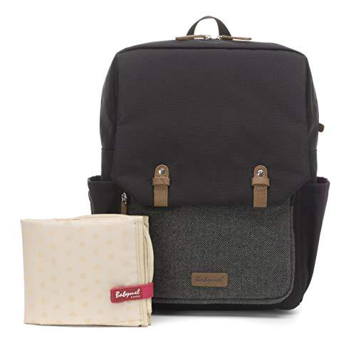 Babymel George Backpack Baby Changing Bag (Black/Tweed)