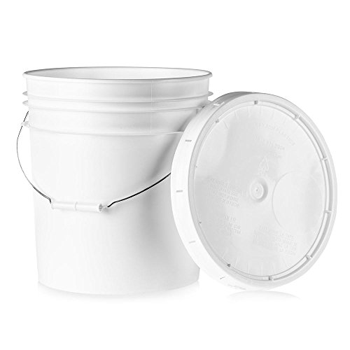 5 Gallon White Plastic Bucket & Lid - Durable 90 Mil All Purpose Pail - Food Grade - Contains No BPA Plastic - Recyclable - 1 Pack
