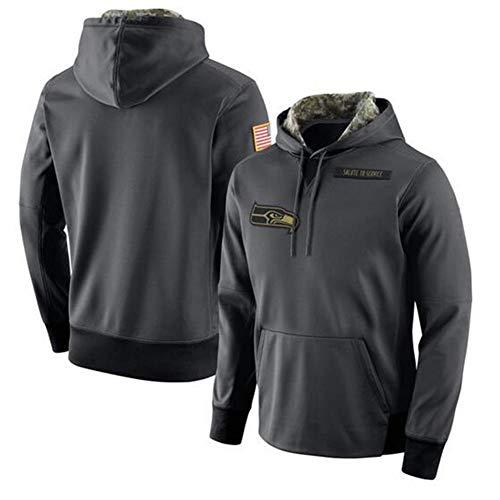 FWHACMT NFL Seattle Seahawks Hoodie Logo Hoodie Grau Fans Kapuzenpullover Herren Pullover Sweatshirts für American Football Fans Bekleidung Camo Sweater - 2019 Salute to Service Armee,L