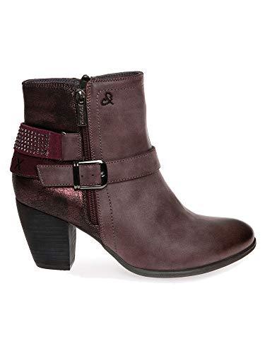 SOCCX Damen Ankle Boot mit Zierschnalle und Glitzersteinen