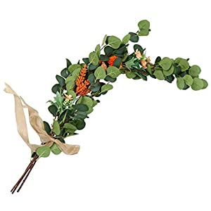 IMIKEYA Long Artificial Eucalyptus Stems with Silk Flower Burlap Bow Fake Greenery Shrubs Faux Outdoor Plants Table Centerpieces for Spring Wedding Party Decoration 100X30CM