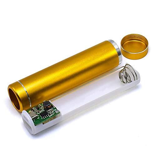 CVBN Carcasa de batería de Banco de energía de Cilindro Multicolor 1x18650 con Puerto de Carga USB, Dorado