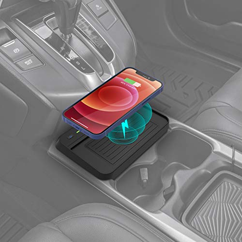 CarQiWireless Wireless Charger for Honda CRV 2019 2018 2017 Car Charging Charger, Center Console Holder Storage Box with QI Enable Cell Phone Wireless Charging Pad Mat for CR-V Interior Accessories