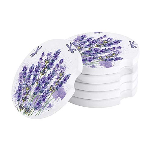 Car Drinks Coasters White Lavender Dragonfly Round Coaster Car Accessories with Absorbent Ceramic Stone&Finger Notch for Easy Removal (Set of 6 Pack)