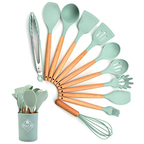 Liford Silicone Cooking Utensil Set,12 PCS Non-stick Silicone Cooking Utensils Set For Home or Picnic,Wooden Handle Heat Resistant(green)