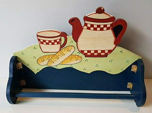 Testrut - Portarotolo da cucina vintage in legno con motivo 2, ca. 32 x 23 cm, con gancio