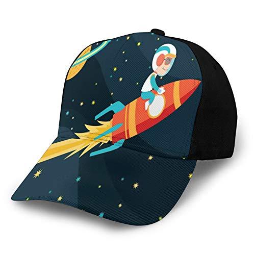 FULIYA Hombres Mujeres Liso Ajustable Lavado Sarga Bajo Perfil Gorra De Béisbol Sombrero Niño Montar Cohete En El Espacio Viaje Infantil Explorando Tema Del Universo