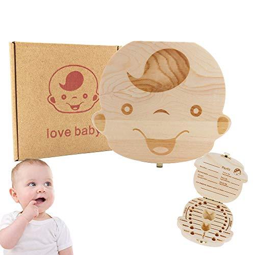 Belle boîte de rangement pour dents de bébé fait main Boîte de rangement en bois pour bébé Boîte à feuilles en bois Boîte de rangement pour dents de bébé (Garçons)