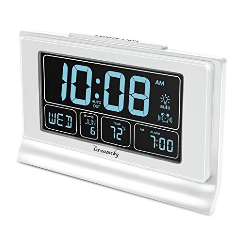 DreamSky Auto Set Digital Alarm Clock with USB Charging Port, 6.6 Inches Large Screen with...