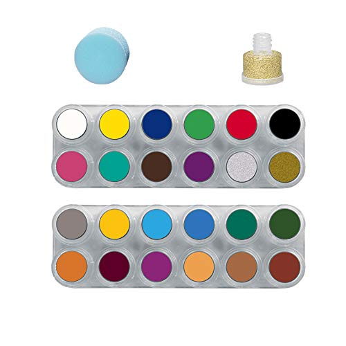 GRIMAS Water Make up Kinderschminke Theaterschminke Palette 24 Farben Schwamm Glitzer Set