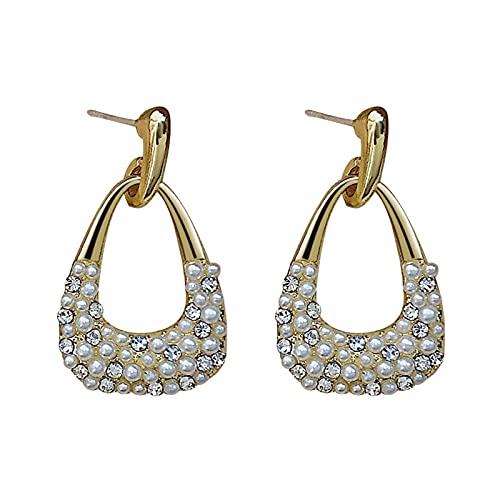 FPOJAFVN Personalidad De La Moda Pendientes De Perlas Geométricas S925 Aguja De Plata Simple Diamond Stud Pendientes Regalo De La Joyería para Las Mujeres,Oro