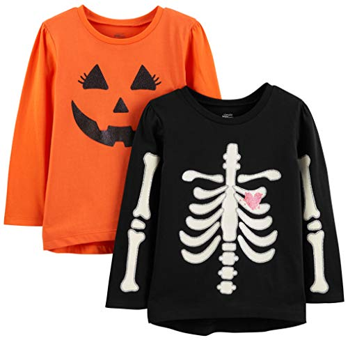 Simple Joys by Carter's Girls' Toddler 2-Pack Halloween Long-Sleeve Tees, Pumpkin/Skeleton, 5T