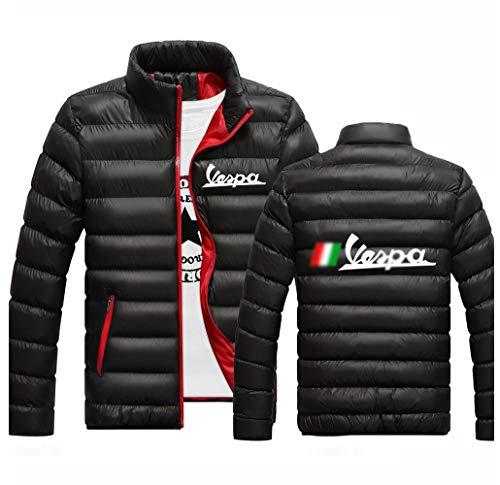 2020 Vespa Sólido Streetwear Chaquetas Zipper Masculino Imprimir Casual Acolchado Deporte Abrigos Hombre Cotton College Tops (Color : Black, Size : 4XL)