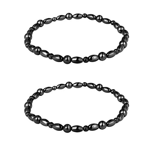 ROSENICE 2pcs Hematite Magnetic Therapy Anklets Magnetic Bracelets Therapy Healing Jewelry for Men Women Arthritis and Carpal Tunnel Pain Relief (Black) …