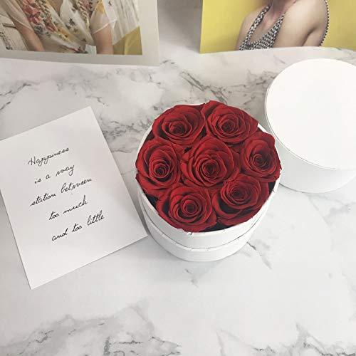 LOXZJYG Rosas eternas en una Caja, Rosas Reales Hecho a Mano Rosas de Larga duración Caja de Regalo Mejor Regalo para cumpleaños Femenino, Aniversario, Madre, día de San Valentín (Color : Blanco)