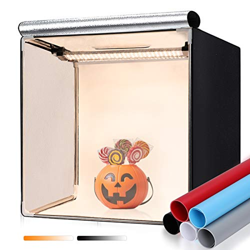 FOSITAN 40x40x40cm Fotostudio Dimmbare Bi-Color Lichtzelt Tragbare Faltbare Studiobox mit 2X 168pcs LED Beleuchtung, (schwarz, blau, weiß, rot, grau) für Professionelle Fotografie