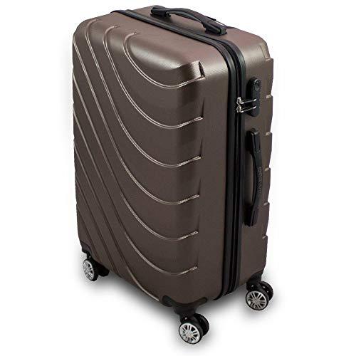 Trolley Hartschalen Koffer Hartschalenkoffer Hardcase Größe L - Modell Wave 2018 (Braun)