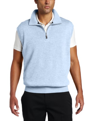 Fairway & Greene Men's Merino 1/4 Zip Wind Vest, Mist, Large