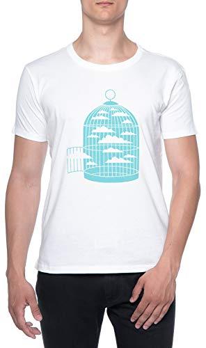 Gratis como Una Pájaro Blanco Hombre Camiseta Mangas Cortas Tamaño XL Mens T-Shirt White Size XL