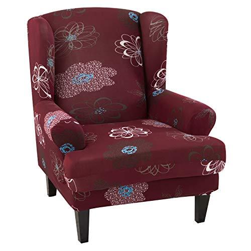 SearchI Ohrensessel Schonbezug Elastische Sesselbezug Sesselüberwurf Stretch Schutzhülle Mode Muster Sofabezug Sessel Husse für Ohrensessel(Rotes Muster)