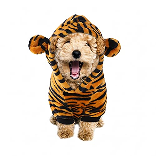 Dog Christmas Outfit Tiger Costume Hoodie for Dog Cat Small Four-Legged Pet Pet Clothes Christmas Dog Clothes Pet Clothes for Small Dogs Pet Christmas Clothes French Bulldog Costume (Tiger, XXL)