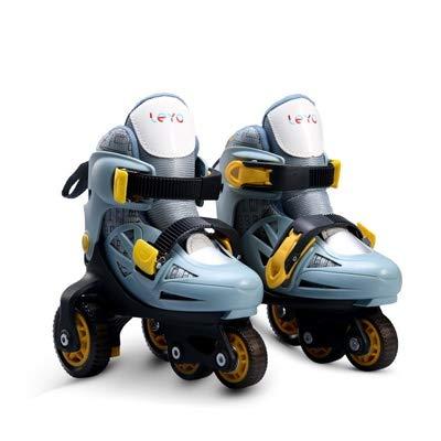 QUETAZHI 1 Paar Kinder Kinder Mädchen reizende Nette Stable Slalom Schlittschuh Roller Skating Schuhe Adjustable Waschbar Kleinkind Fall Prevention QU527 (Color : Brave Grey EUR27 30)