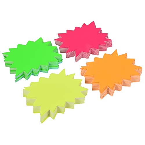 Bluecell 200pcs Small Starburst Signs Promotion Retail Sale Signs - 4 Assorted Bright Color Display Tags to Boost Sales (Fluorescent Color)