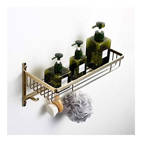 ZhanMaGS Estante de baño de doble estante de acero inoxidable chapado en oro montado en la pared, soporte de barra de almacenamiento fácil de limpiar 14 pulgadas 1003