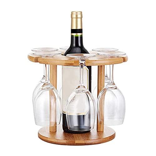 SGSDG Forma Redondo Elegante Estante de Vino Phoebe Bambú Exquisito Titular De Vino Color De Madera De Adorno Botellero Vino para El Hogar Almacenados Una Botella De Vino Y Seis Copas De Vino