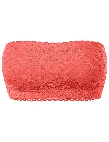 Seamless Bandeau Non Padded Tight Crop Lace Tube Sport Bra Blush Free (S-L)