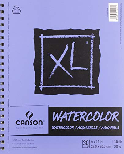 Canson XL Series Watercolor Textured Paper, Use with Paint Pencil Ink Charcoal Pastel and Acrylic, Side Wire Bound, 140 Pound, 9 x 12 Inch, 30 Sheets